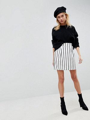 ASOS Tailored Ruffle Paperbag Waist A-Line Mini Skirt In Stripe