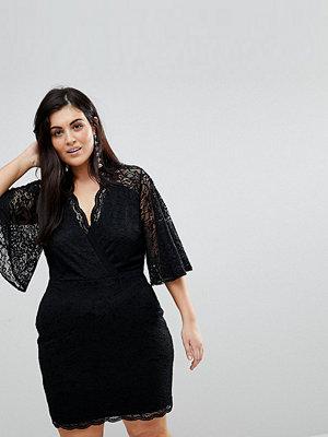 ASOS Curve Cape Plunge Lace Mini Dress