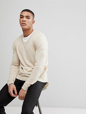 ASOS V-Neck Cotton Jumper In Oatmeal - Oatmeal