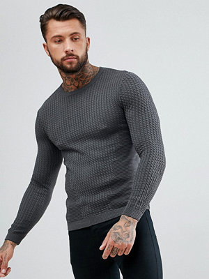 ASOS Muscle Fit Lightweight Cable Jumper In Charcoal - Charcoal
