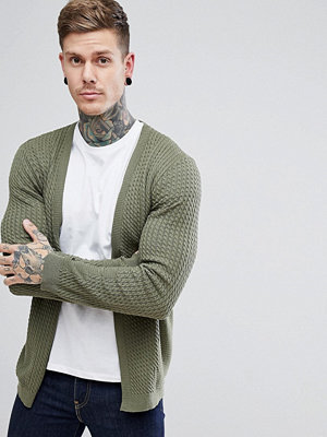 ASOS Lightweight Cable Cardigan In Khaki - Khaki