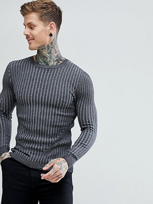 ASOS Muscle Fit Ribbed Jumper In Charcoal - Charcoal