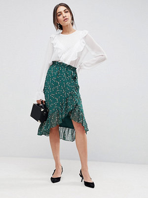 Y.a.s Floral Wrap Skirt With Ruffle