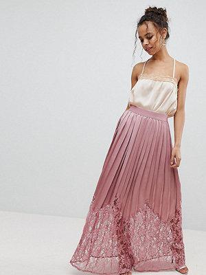 Little Mistress Petite Lace Pleated Maxi Skirt