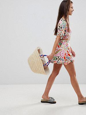 ASOS New Retro Print Pom Pom Wrap Mini Co-Ord Skirt