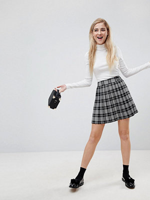 ASOS Tailored Pleated Pink and Black Check Mini Skirt