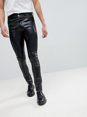ASOS Super Skinny Jeans In Black Faux Leather With Zip Details