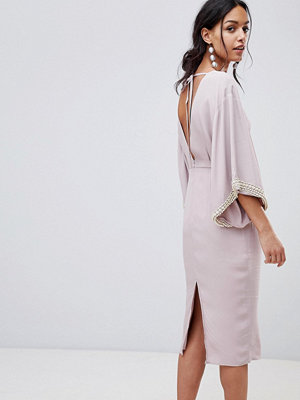 ASOS Embellished Kimono Midi Dress With Pearl Trim - Mink