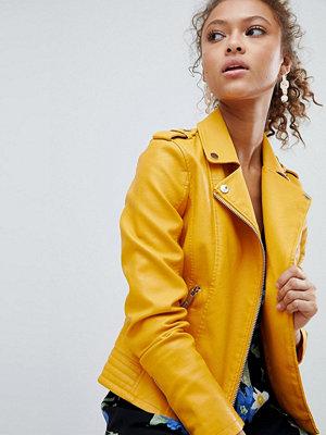 Miss Selfridge Leather Look Biker Jacket - Marigold