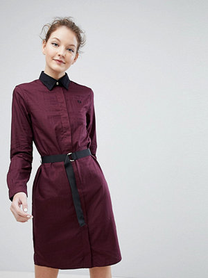 Fred Perry Shirt Dress with Belt - Mahogany