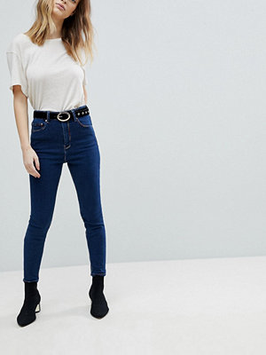 ASOS RIDLEY High Waist Skinny Jeans in Soft Indigo with Rainbow Threads - Indigo