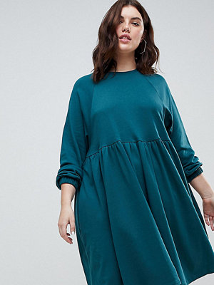 ASOS Curve Cotton Smock Dress With Elastic Cuff Detail