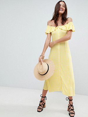 ASOS Off Shoulder Button Through Midi Sundress in Gingham - Yellow gingham