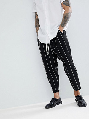 ASOS Drop Crotch Tapered Smart Trousers In Black Waffle With White Stripes