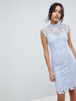 Paper Dolls High Neck Lace Midi Dress - Light sky