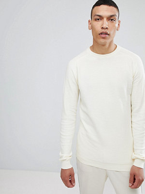 Lindbergh Structured Crew Neck Jumper in Off White - Off white