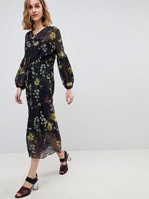 Warehouse Dutch Floral Print Balloon Sleeve Chiffon Midi Dress