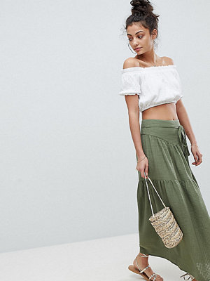 Asos Tall Maxi Skirt with Tie Belt in Grid Texture