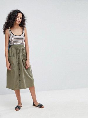 ASOS Cotton Midi Skirt with Button Front