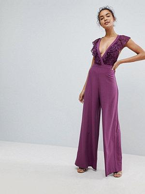 ASOS Wrap Lace Jumpsuit with Wide Leg