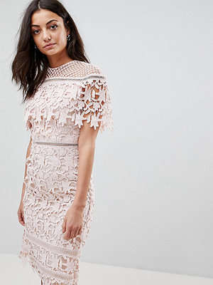 Chi Chi London Tall Lace High Neck Pencil Midi Dress - Soft blush