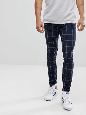 ASOS Super Skinny Smart Trousers In Navy Check With Turn Up