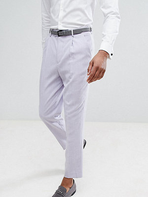 ASOS TALL Wedding Tapered Smart Trousers In Lilac Cross Hatch Nepp