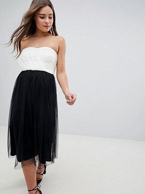 ASOS DESIGN Colourblock Tulle Bandeau Midi Dress