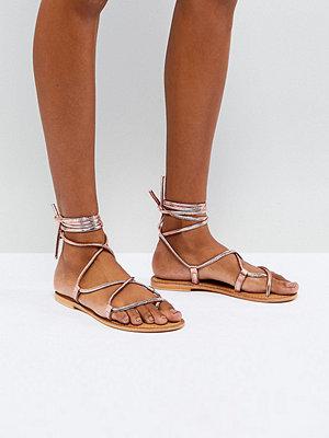 ASOS FLOW Leather Tie Leg Flat Sandals