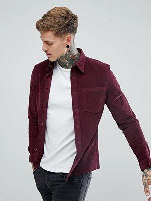 ASOS Slim Fit Cord Shirt In Burgundy