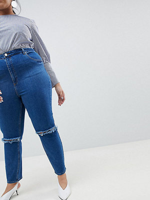 ASOS Curve FARLEIGH High Waist Slim Mom Jeans in Bonnie Wash with Super Wide Busted Knee