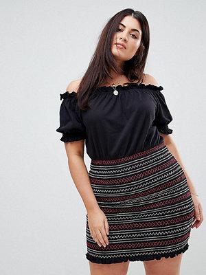 ASOS Curve Off Shoulder Sundress with Shirred Embroidered Skirt Panel - Black