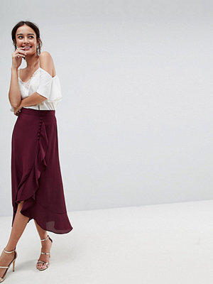 ASOS Chiffon Midaxi Skirt with Button and Frill Detail