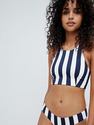 Weekday High Neck Racer Back Stripe Bikini Top - Navy stripe
