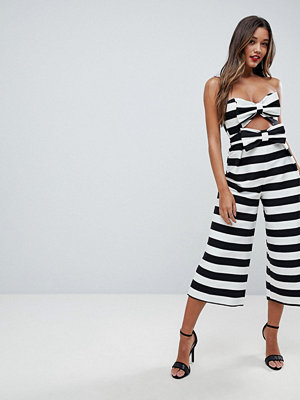 ASOS Bow Jumpsuit in Structured Fabric in Stripe
