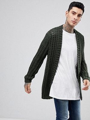 ASOS Chunky Stitch Textured Cardigan In Khaki - Khaki