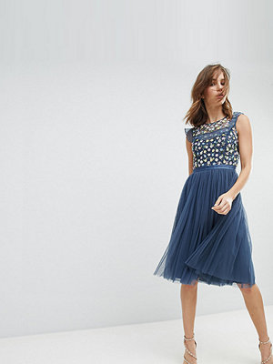 Needle & Thread Midi Dress with Embroidery and Tulle Skirt - Washed indigo