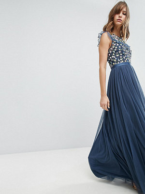 Needle & Thread Maxi Dress with Embroidery and Tulle Skirt - Washed indigo