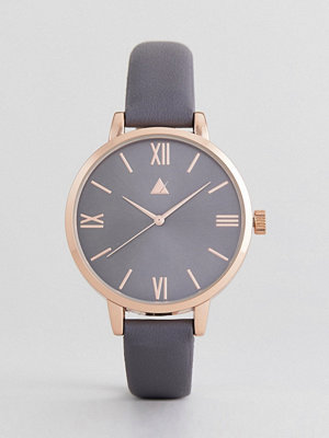 ASOS Curve Charcoal and Rose Gold Watch