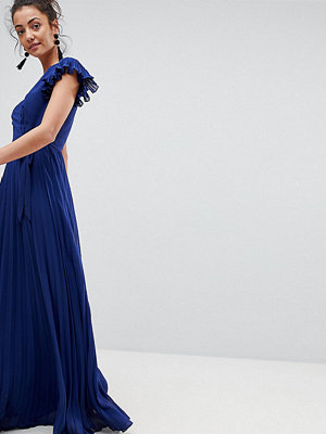 Asos Tall Pleated Maxi Dress with Flutter Sleeve
