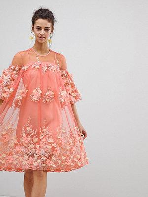 ASOS Edition 3D Floral Trapeze Smock Midi Dress - Coral