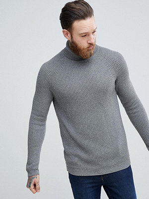 ASOS Ribbed Wool Roll Neck Jumper In Charcoal - Charcoal