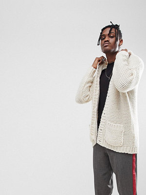 ASOS Oversize Cardigan In Mohair Wool Blend - Ecru