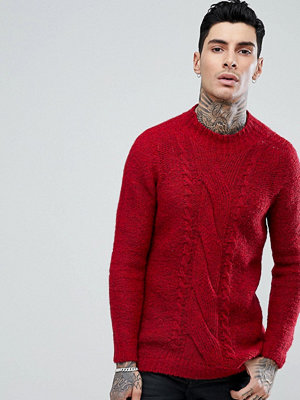 ASOS Cable Knit Mohair Wool Blend Jumper In Red - Burgundy