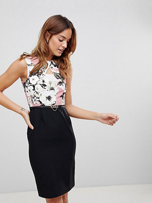 Paper Dolls Rose Multi Key Hole Dress - Rose multi