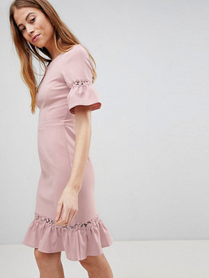 Paper Dolls Rose Lace Panel Peplum Dress - Rose