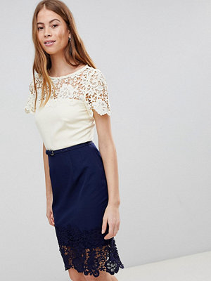 Paper Dolls Cream And Navy Lace Panel Dress - Cream navy