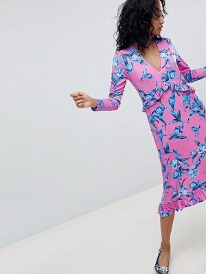 ASOS DESIGN Slinky Midi Dress With Choker Neck And Frill Details In Floral Print