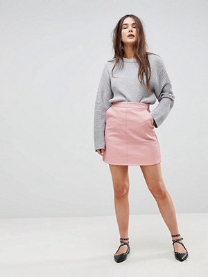 Only A-Line Leather Look Skirt - Blush