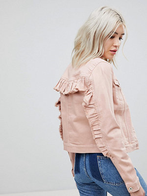 Only Coloured Denim Jacket With Ruffle Sleeve - Pink